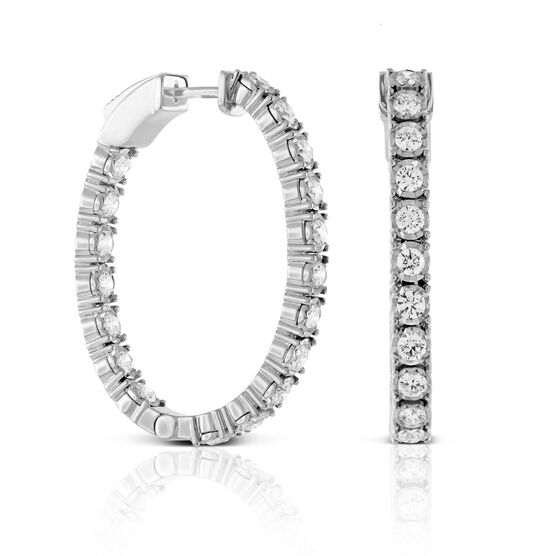 Oval Diamond Hoop Earrings 14K, 3 ctw.