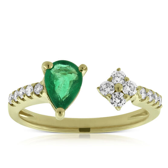 Emerald & Diamond Open Shank Ring 14K
