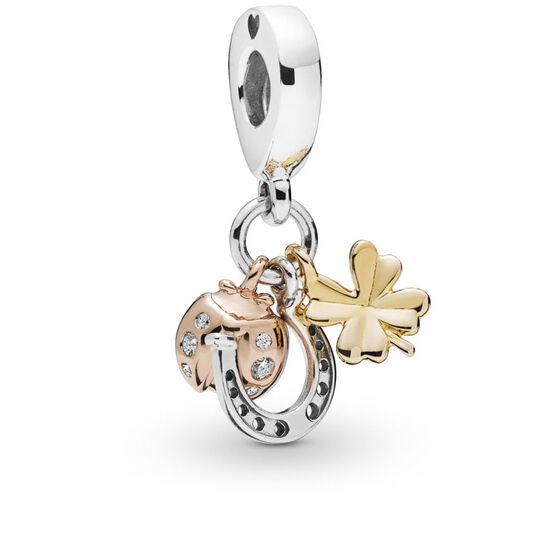 Pandora Horseshoe, Clover & Ladybird CZ Dangle Charm, Silver, Pandora Rose™ & Pandora Shine™