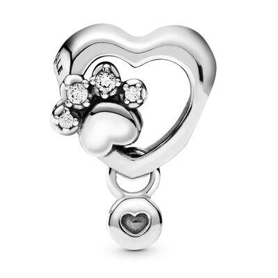 Pandora Passions Sparkling Paw Print & Heart CZ Charm