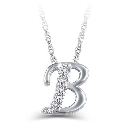 "Diamond ""B"" Initial Pendant 14K"