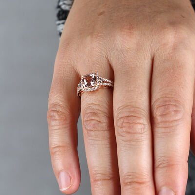 Rose Gold Morganite & Diamond Split Shank Ring 14K