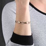 Toscano Cushion Link Two-Tone Bracelet 14K