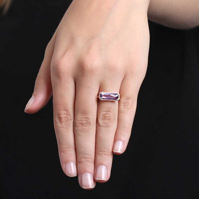 Rose Gold Rectangular Amethyst & Diamond Ring 14K