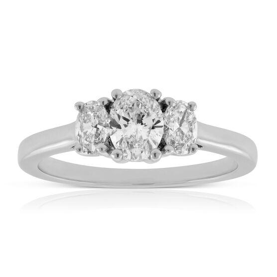 Three Stone Oval Diamond Engagement Ring 14K