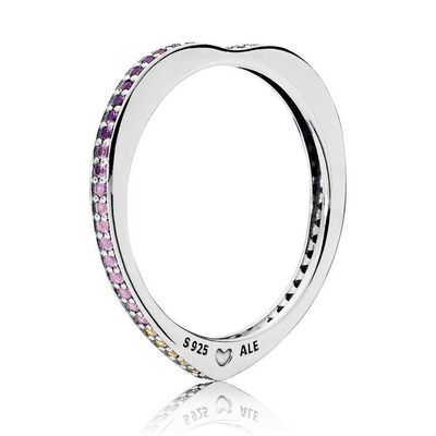 PANDORA Multi-Colored CZ & Crystal Arc of Love Ring