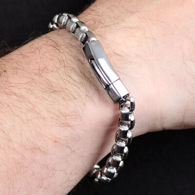 Ribbed Stainless Steel Bracelet
