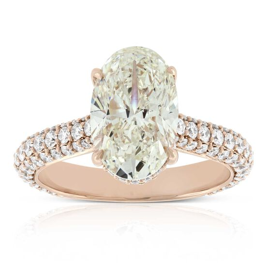 Rose Gold Oval Cut Diamond Engagement Ring, 3.14 Ct. Center, 18K