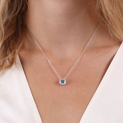 Aquamarine & Diamond Halo Pendant 14K