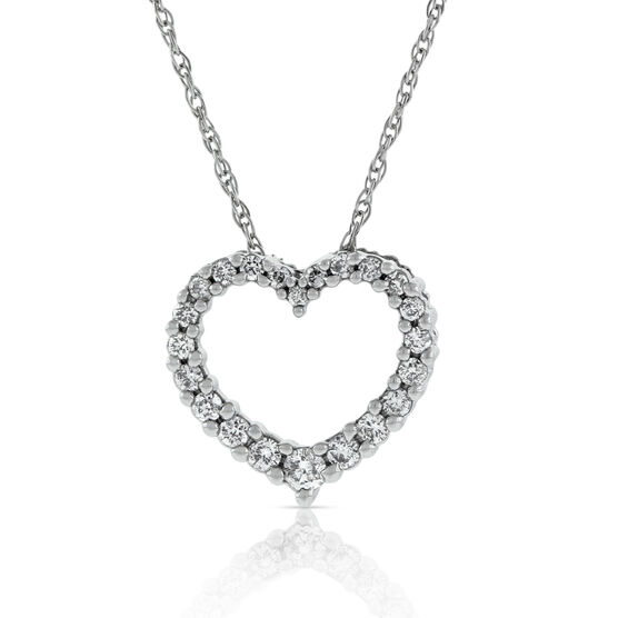 Graduated Diamond Heart Pendant 14K