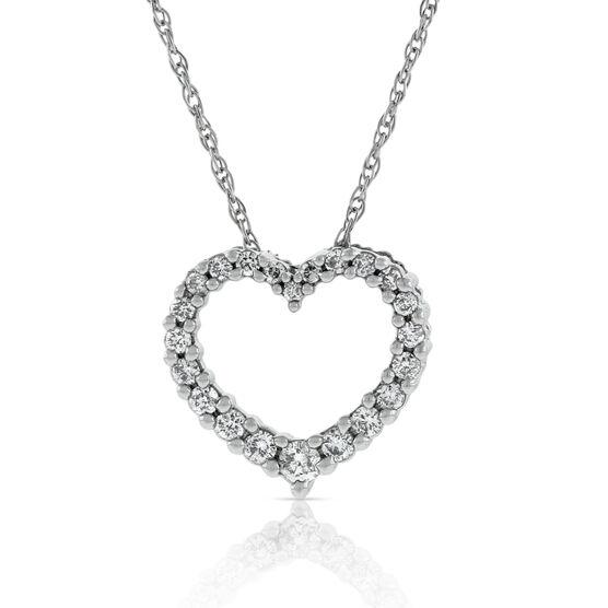 Graduated Diamond Heart Pendant 14K