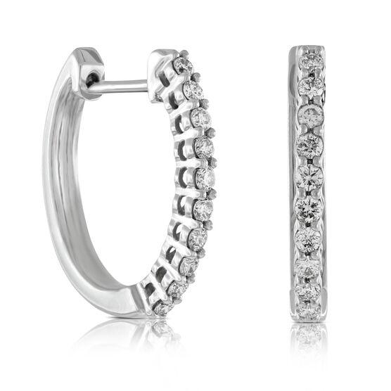 Oval Diamond Hoop Earrings 14K, 1/3 ctw.