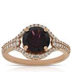 Rose Gold Rhodolite Garnet Ring 14K