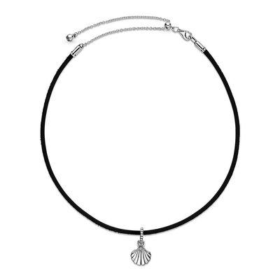 Pandora Black Leather Seashell Choker CZ Necklace