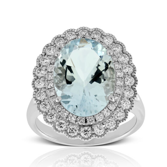Aquamarine & Diamond Ring 18K