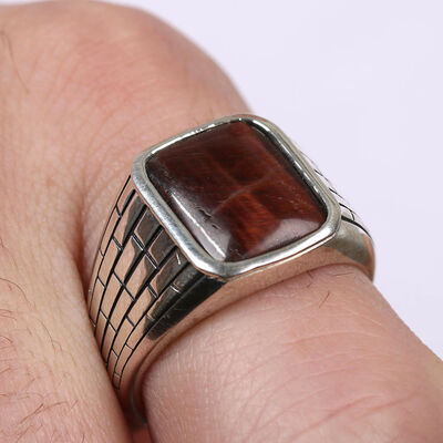 Tiger Eye Men's Ring in Sterling Silver