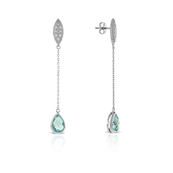 Blue Topaz & Diamond Dangle Earrings 14K