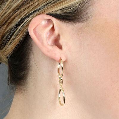Infinity Twist Hoop Earrings 14K