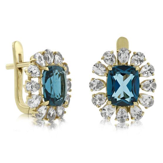 Topaz & Sapphire Earrings 14K