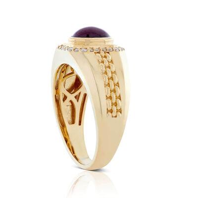 Oval Star Ruby & Diamond Ring 14K