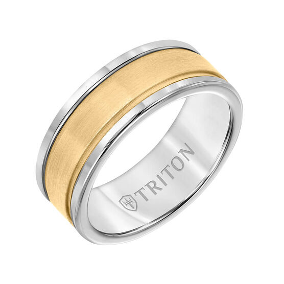 TRITON Custom Comfort Fit Satin FInish Band in Grey Tungsten & 14K, 8 mm