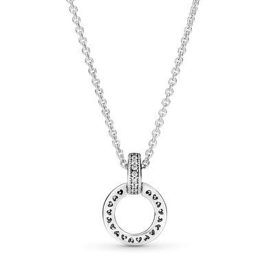 Pandora Double Circle CZ Pendant & Necklace