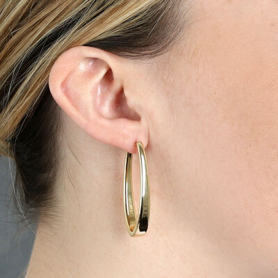 Large Oval Hoop Earrings 14K