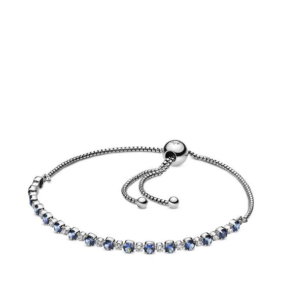 Blue & Clear Sparkle Crystal & CZ Slider Bracelet