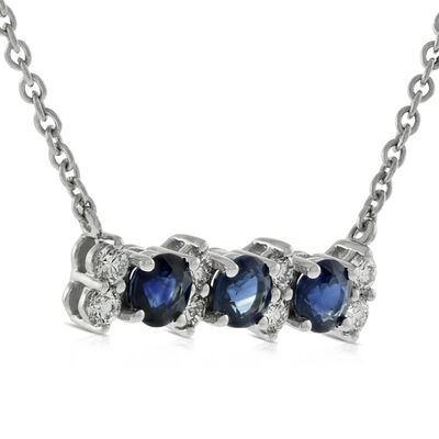 Sapphire & Diamond 3-Stone Bar Necklace 14K