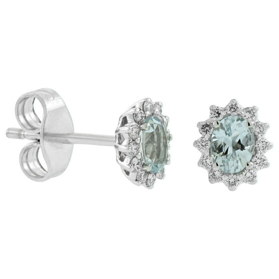 Aquamarine & Diamond Halo Earrings 14K