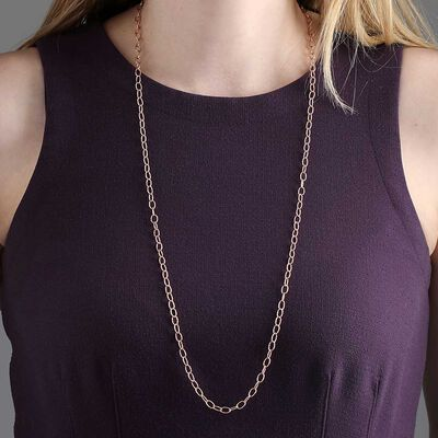 Rose Gold Toscano Oval Link Chain Necklace 14K, 32""