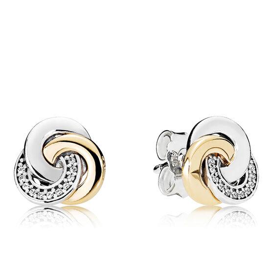 PANDORA Interlinked Circles CZ Earrings, Silver & 14K