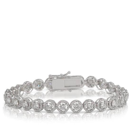 Diamond Halo Tennis Bracelet 14K