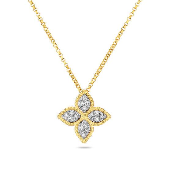 Roberto Coin Diamond Princess Flower Petal Pendant 14K