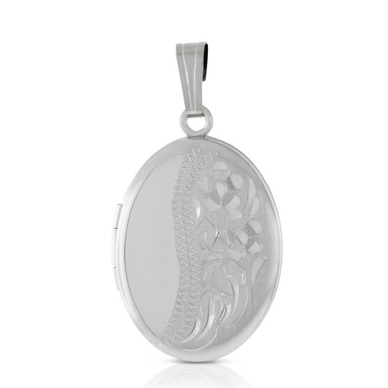 Hand Engraved Oval Locket in Sterling Silver