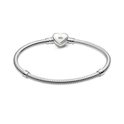 Pandora Domed Golden Heart Clasp Snake Chain Bracelet, 14K & Silver