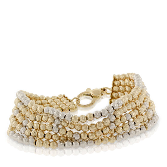 Toscano Two-Tone Beaded Five Row Bracelet 18K