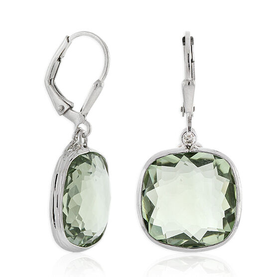 Lisa Bridge Cushion Cut Green Quartz Dangle Earrings