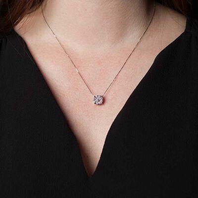 Halo Diamond Pendant, .95 ctw. 14K