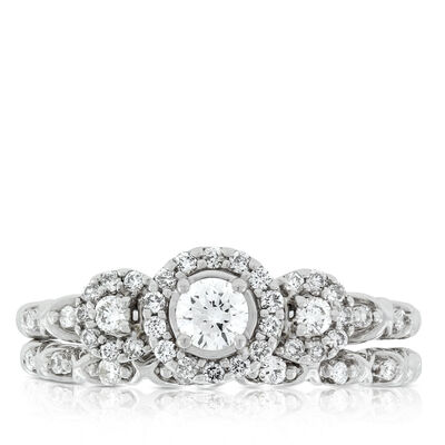 Floral Diamond Bridal Set 14K