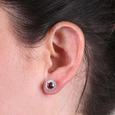 Rose Gold Pink Rhodolite & Diamond Halo Earrings 14K