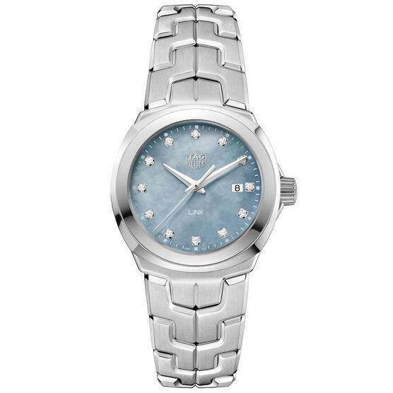 TAG Heuer Link Quartz Ladies Grey Blue Steel Watch