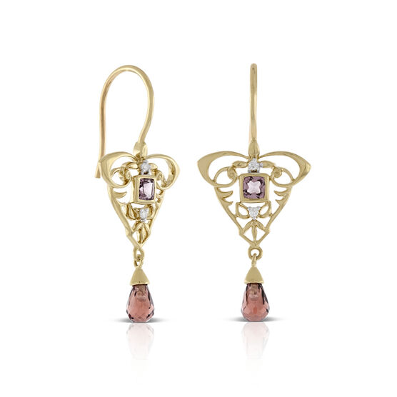 Briolette Cut Garnet & Diamond Drop Earrings 14K