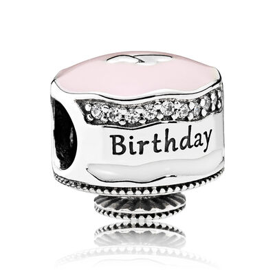 PANDORA Happy Birthday Cake,  Enamel & CZ Charm