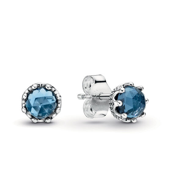Pandora Blue Sparkling Crown Crystal & CZ Stud Earrings