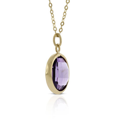 Round Bezel Set Amethyst Necklace 14K