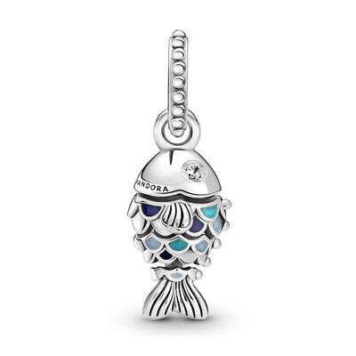 Pandora Blue Scaled Fish Enamel & CZ Dangle Charm