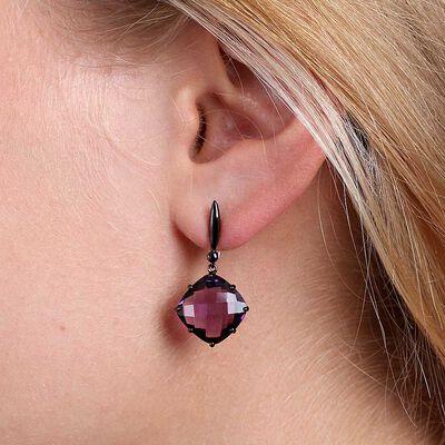 Checkered Amethyst Dangle Earrings 14K