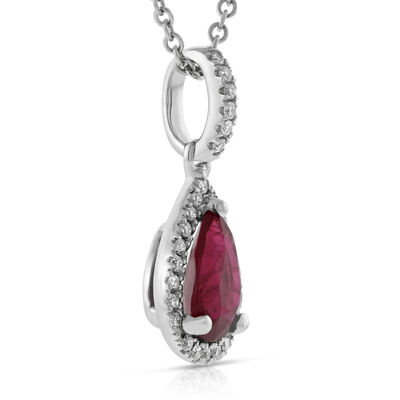 Halo Ruby & Diamond Pendant 14K
