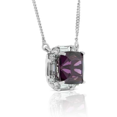 Purple Garnet & Diamond Necklace 14K